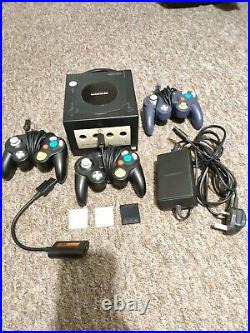 Black Nintendo Gamecube Console 3 Controllers, 3 Memory Cards, ALL OFFICIAL