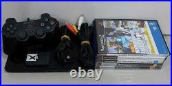 Black Playstation 2 Slim PS2 Console + Controller + memory card + Games Bundle