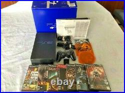 Boxed PlayStation 2 PS2 Fat Console Bundle Controller Cables M Card 10 M Games