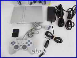 Boxed Sony Playstation 2 Ps2 Silver Slim Console + Grey Controller + Memory Card