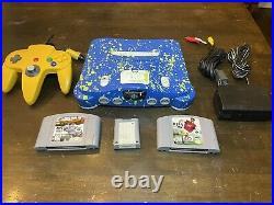 Custom Paint N64 Console Bundle + Yellow OEM Controller + Memory Card + 2 Games