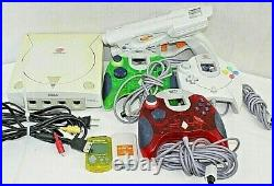 Dreamcast Sega model HKT-3020 bundle 3 controllers gun all cords 2 memory cards