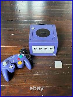 GameCube Console Indigo Purple+Controller +Memory Card +Wires Complete in Box