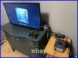 GameCube Console (Indigo) With Controller + Memory Card + GameBoy Player Base