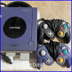 GameCube Indigo Purple Console System and Power Supply Memory Card 2 Controllers