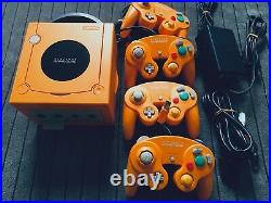 Gamecube Orange Console System 4 Controllers Memory Card S-Video Japan Nintendo
