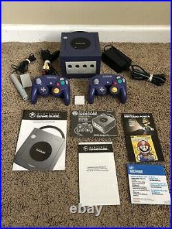 Indigo Purple Nintendo GameCube Console with 2 Controllers, memory Card, Manuel, mic