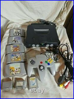 N64 Nintendo 64 Charcoal Grey System/wires/1 controller/3 memory cards&5 games