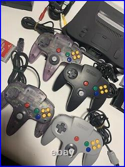 Nintendo 64 N64 System Console Bundle 4 OEM Controllers 8 Games With Memory Cards