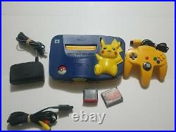 Nintendo 64 Pikachu Pokemon System Console with Yellow Controller, Memory Card