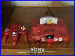 Nintendo 64 Watermelon Red Console, 2 controllers, With Memory Card, 11 Games