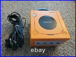 Nintendo GameCube DOL-001 Orange with 2 Silver Controllers, Memory Card & Cords