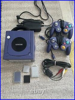Nintendo GameCube Indigo Purple Console, 2 Controllers, Memory Cards, OEM Cables