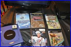Nintendo GameCube Indigo Purple Console Lot, 2 Controllers, 6 games, memory card