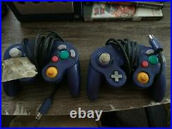 Nintendo GameCube Indigo Purple Console Lot with Controller, Memory Card & 3 Games