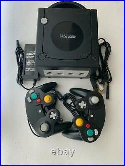 Nintendo GameCube JET BLACK Console + 2 Controllers + Memory Card Bundle