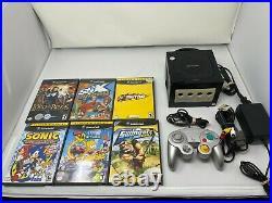 Nintendo GameCube Jet Black Console System Bundle With Controller Mem Card 6 Games