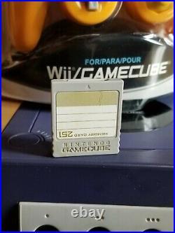 Nintendo Gamecube Bundle DOL-001 Indigo Console Control Memory Card & 4 Games