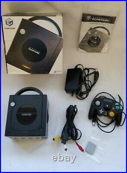 Nintendo Gamecube Console Black With Controller Memory Card Manual Box Dol-101