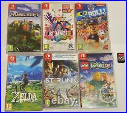 Nintendo Switch Console Bundle 64GB card- 3 Controllers 7 Games case Boxed