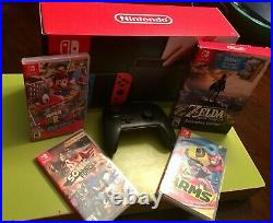 Nintendo Switch Console Red Blue / 64 GB SD Card / Zelda / Games / Extra Control