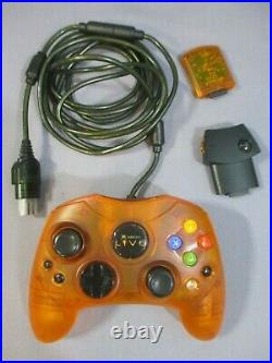 Original XBOX LIVE CONTROLLER Orange Prototype with Memory Card TESTED Microsoft