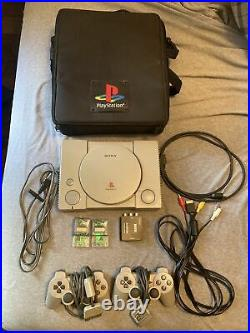 PS1 System and Travel Case with 2 OEM Controllers, Memory Cards, HDMI, and Cords