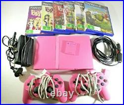 PS2 PINK Slim Console with 6 Games And 2 Hand Controllers Memory Card Tested