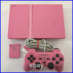 PS2 Pink Sony PLAYSTATION 2 Console Controller Memory Card Set RARE SCPH-77002