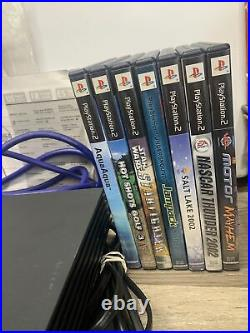 PS2 Playstation 2 Fat Console Bundle Lot with 4 Games 2 Controllers 2 Cards Multi