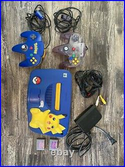 Pikachu Nintendo 64 With Two Controllers And Memory Cards