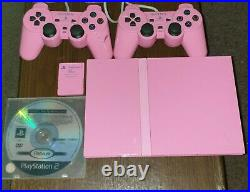 Pink Playstation 2 Slim Console, 2 Controllers, Memory Card And Game Free Post