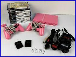 Pink Slim Sony Playstation PS2 Bundle with 2x Controls 2x Memory Cards 11x Games