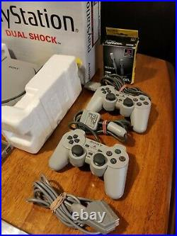 PlayStation 1 Boxed + 2 X Controllers + Memory Card + Games + Link Cable