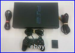 PlayStation 2 PS2 Black Console Fat Model Original Sony Controller & Memory card