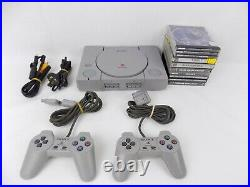 Playstation 1 Ps1 Console Bundle + 2x Controllers + Memory Card + 9x Games