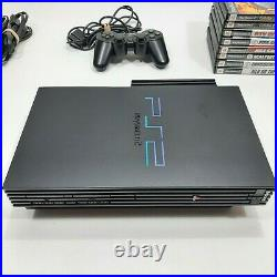 Playstation 2 PS2 Fat Console Bundle Controllers Memory Card 8 Games Lot