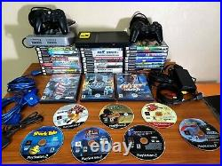 Playstation 2 Slim Console Huge Lot 2 Controllers 38 Games PS2 Memory Card Etc