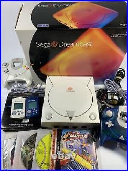 Sega Dreamcast Box 2 Controllers Cables 2 Memory Cards Crazy Taxi Tennis Games