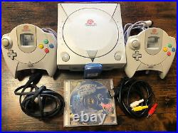 Sega Dreamcast Console Model HKT-3020 With 2 Controllers, Memory Card NBA Game