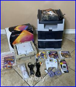 Sega Dreamcast In Box With Controller, Memory Card, Games And Video Game Station