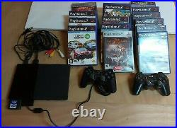 Sony Black Playstation 2 Slim + 2 controller +15 Games + Memory Card- PS2