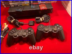 Sony PlayStation 2 Fat Console Bundle 2 Controllers, 25 Games, 2 Memory Cards