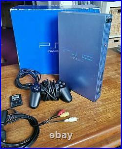Sony PlayStation 2 Konsole Aqua Blue Blau PS2 + Controller Memory Card Bundle