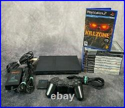 Sony PlayStation 2 PS2 Black Slim Console Controller Memory Card 10 Game Bundle