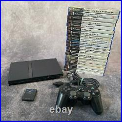 Sony PlayStation 2 PS2 Black Slim Console Controller Memory Card 20 Game Bundle