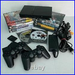 Sony PlayStation 2 PS2 with NEW Wireless Controllers, 64gig card, Games & Cables