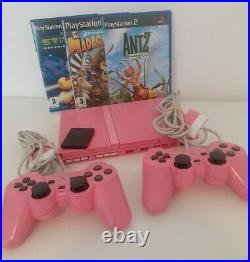 Sony PlayStation 2 Slim Pink PS2 With Controllers & Cables & Memory card & Games