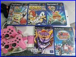 Sony PlayStation 2 Slim Pink PS2 With Controllers Memory Card Games