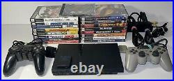 Sony PlayStation PS2 Slim Console Bundle With2 Controllers, 17 Games & Memory Card